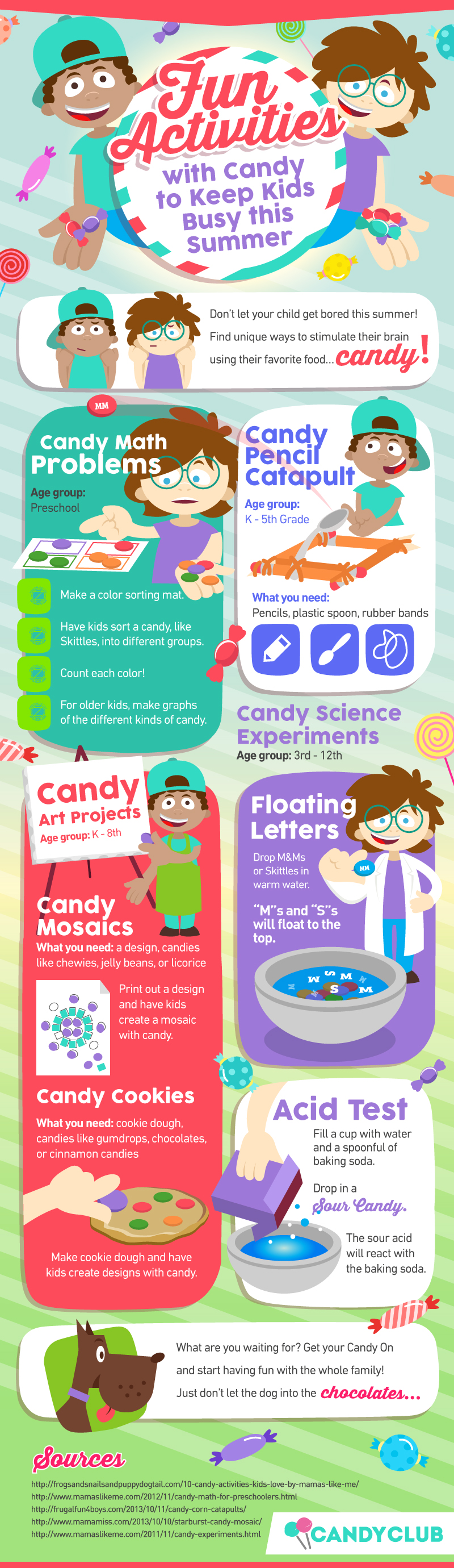 Infographic of candy activity ideas that will keep kids busy during the summer.