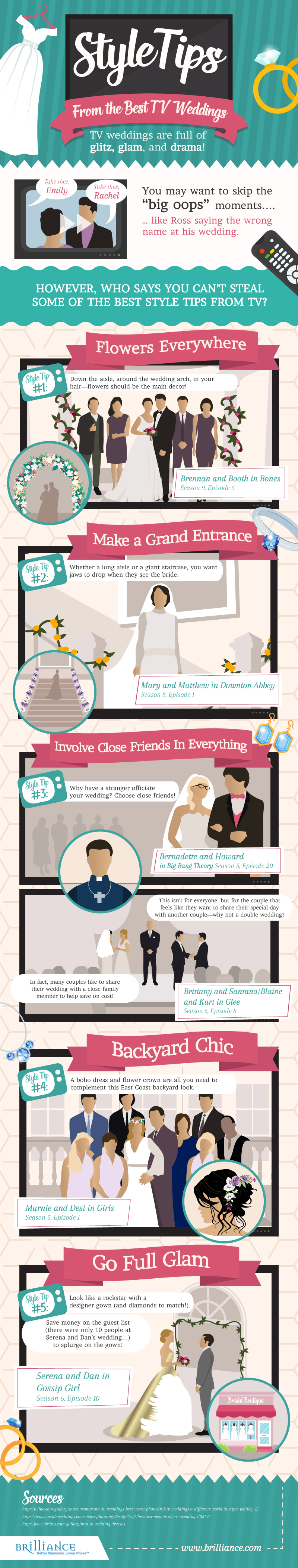 Styles Tips From the Best TV Weddings Infographic
